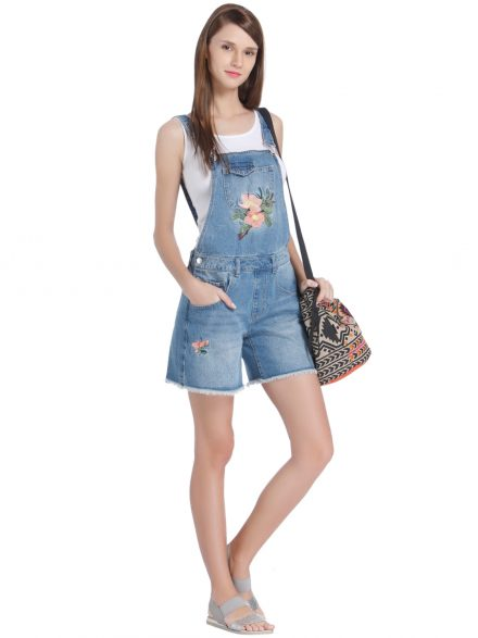 Embroidered Dungaree Shorts