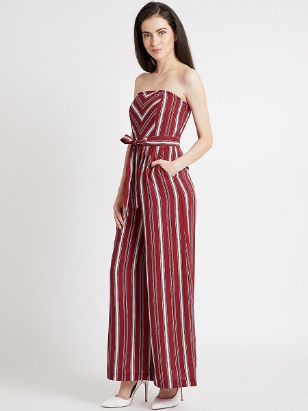 Red And White Striped Jumpsuit
