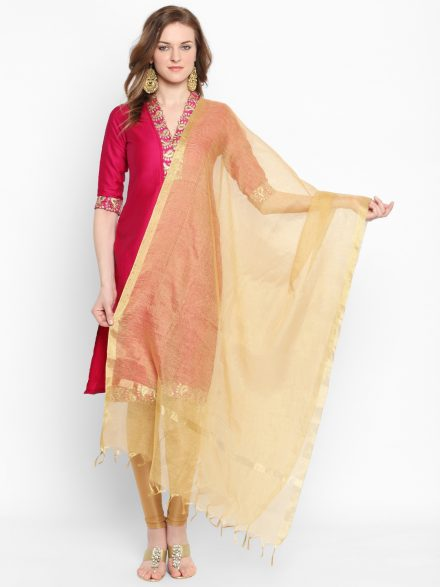Solid Gold Net Dupatta