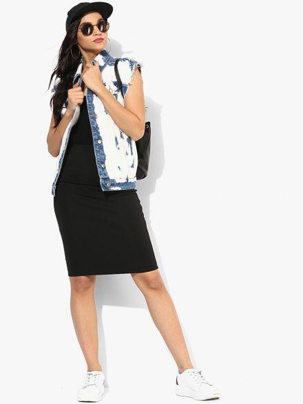 Sleeveless Denim Jacket with Dress