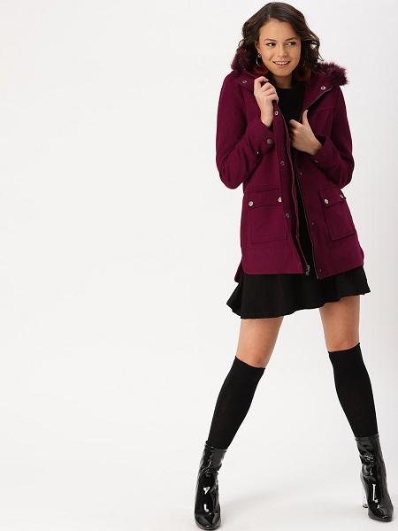 Burgundy Hooded Parka Coat For Women