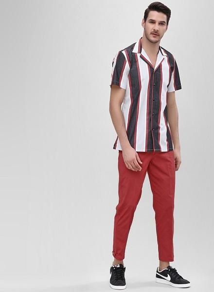 Vertical Striped Shirt With Cuban Collar