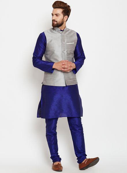 ShimmeringBlue Kurta Pajama With Silk Jacket