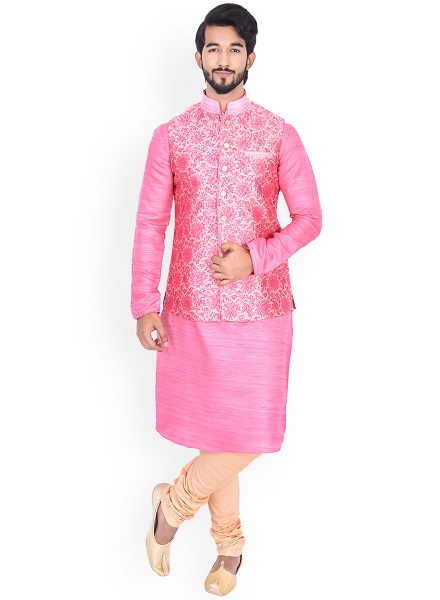 Pink and Beige Kurta-Churidar with Floral Jacket