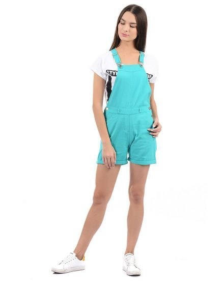 Color Pop Dungaree Shorts