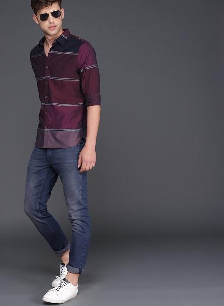 Maroon Slim Fit Striped Shirt