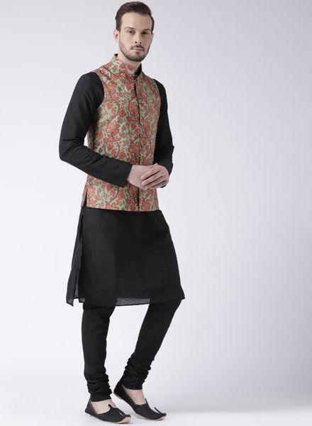 Black Kurta Pajama With Floral Jacket