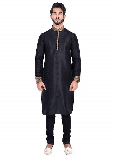 Black Full Sleeves Kurta and Churidar Set