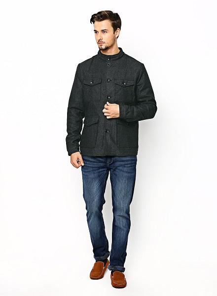 grey bandhgala Coat
