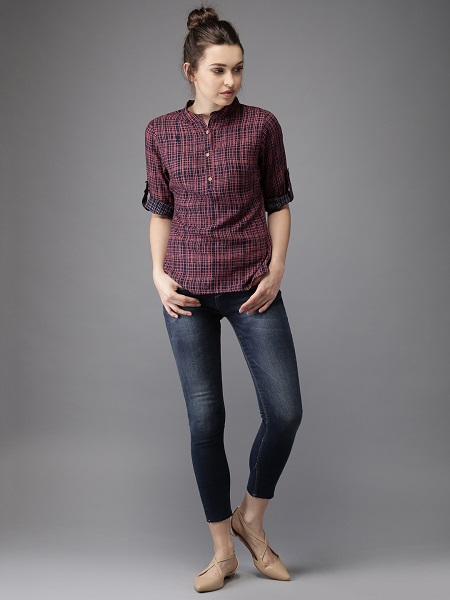 Checked Shirt Style Top