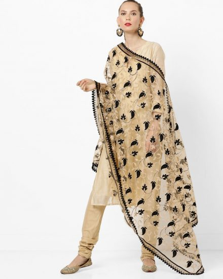 Gold and Black Net Dupatta