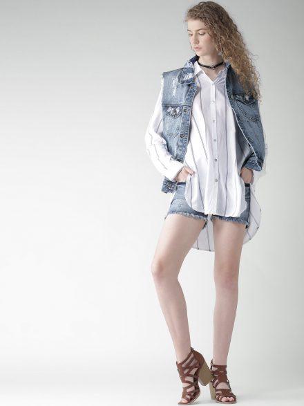 Sleeveless Denim Jacket with Oversized Shirt