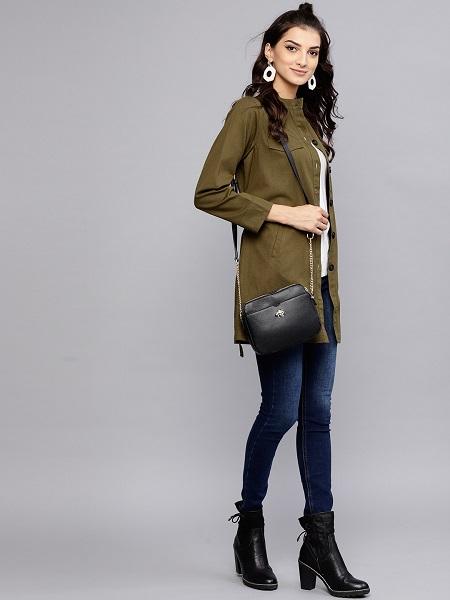 Olive Green Mandarin Collar Coat For Women