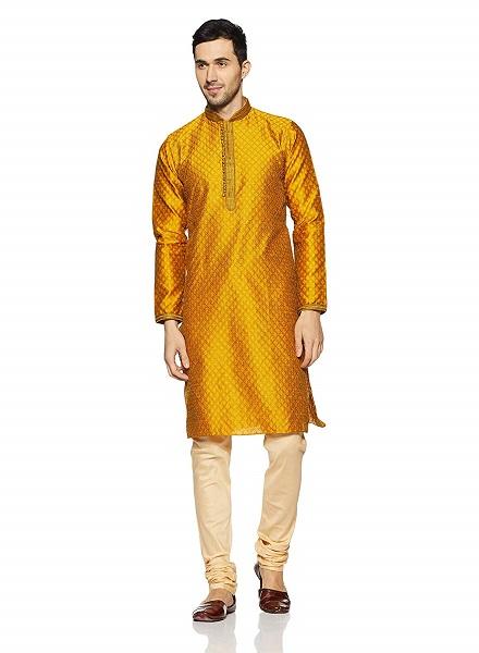 Yellow Designer Kurta with Chudidar