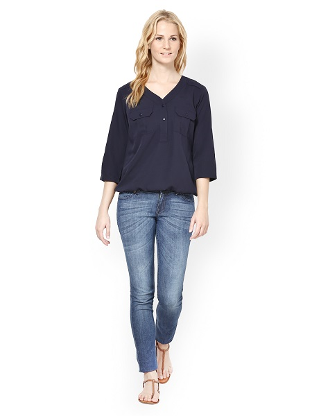 Solid Woven Navy Top