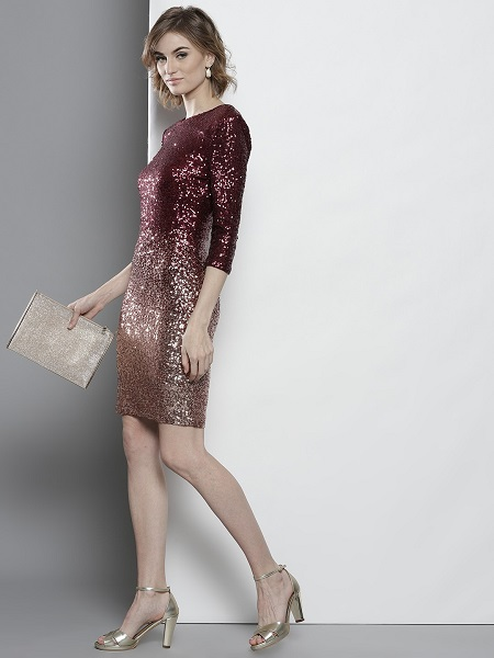Burgundy And Golden Sequined Bodycon Dress