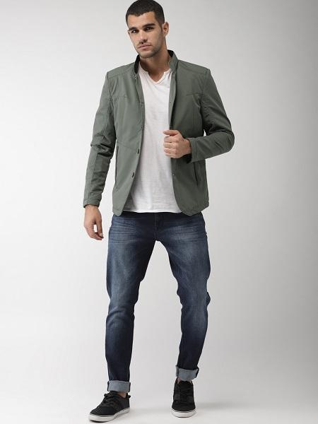 Grey Nylon Overcoat For Men