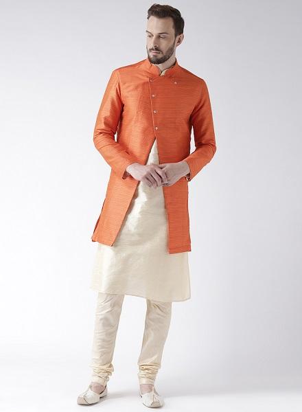Orange and Cream Sherwani with Achkan