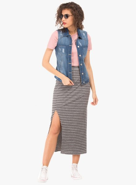 Sleeveless Denim Jacket with Slit Skirt