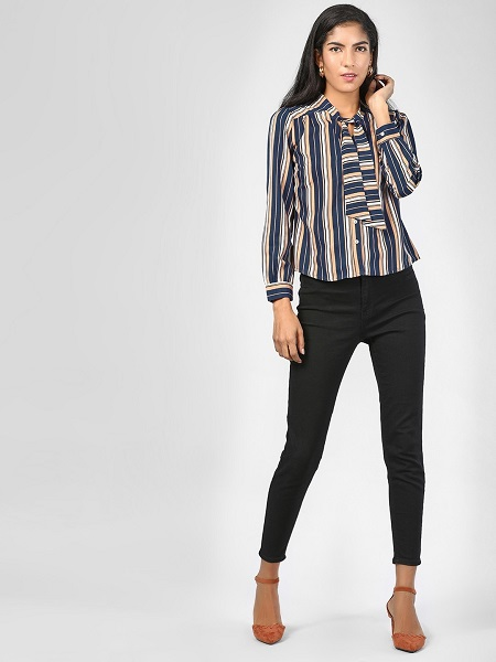 Striped Front Tie-up Top
