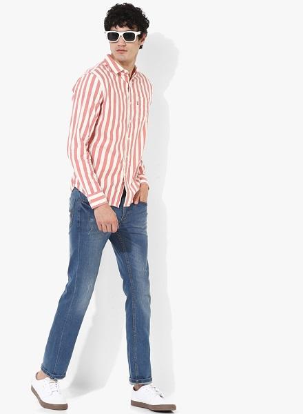 Peach Striped Slim Fit Casual Shirt