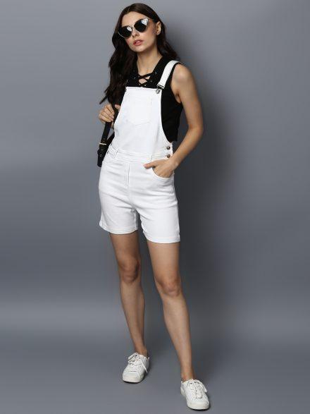 Classic White Dungaree Shorts
