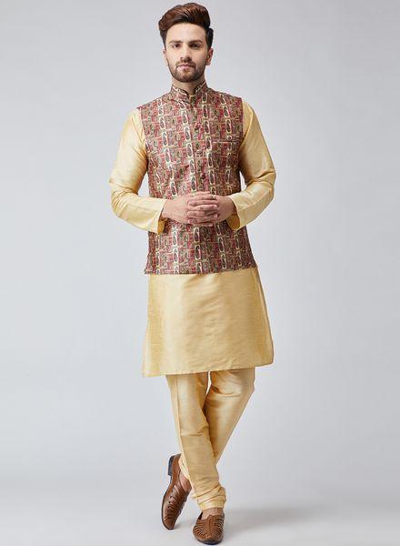 Beige Kurta With Maroon Nehru Jacket