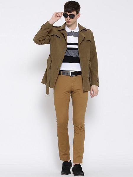 Olive Brown Cotton Coat For Men