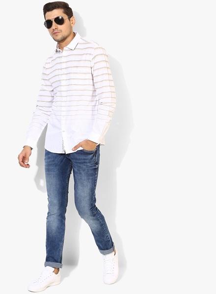 White Horizontal Striped Casual Shirt