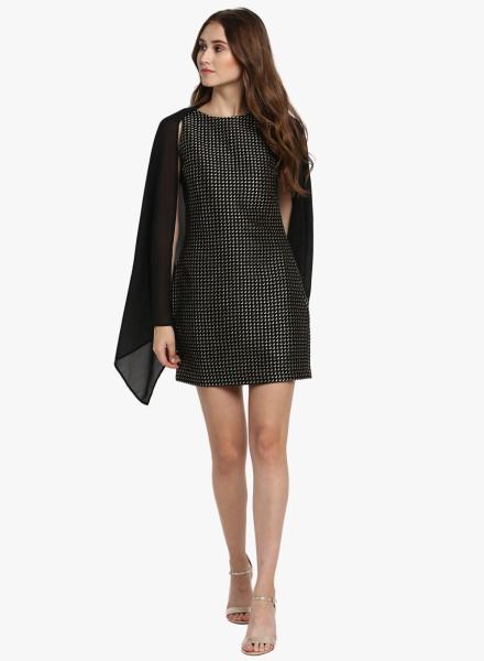 Sheer Jacket Black Dress