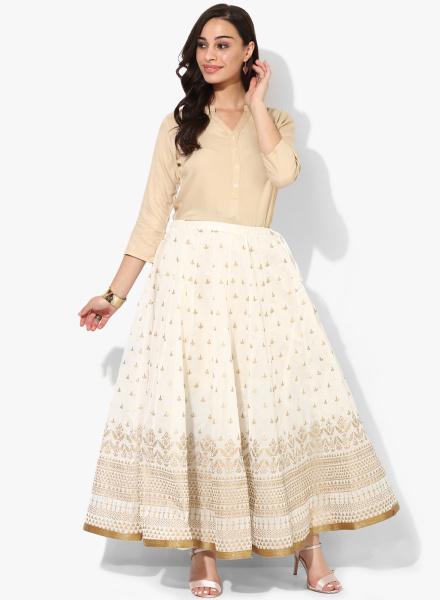 Long White Flared Skirt