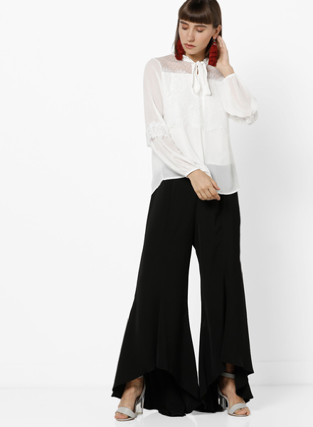 Lace Top with Flared Pants