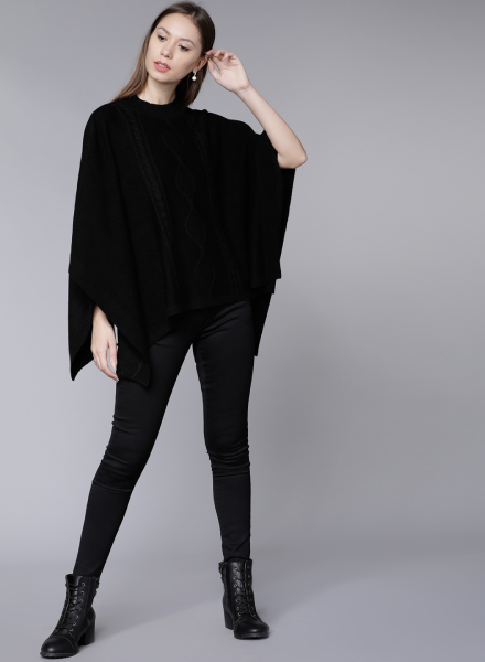 Enhance Your Basic Jeans With A Longline Poncho