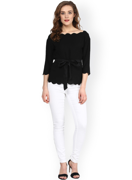 Front-tie Scalloped Top