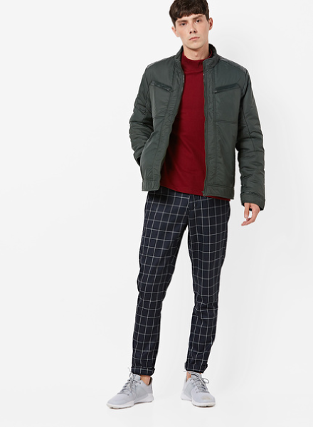 Bomber Jacket Over A Crew Neck T-shirt