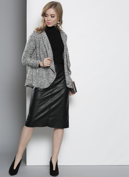 Pull It Off Over A Turtleneck and Leather Skirt