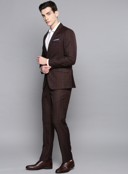 Maroon Louis Philippe Chequered Suit
