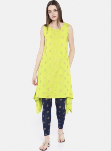 Printed Leggings with Neon Kurti