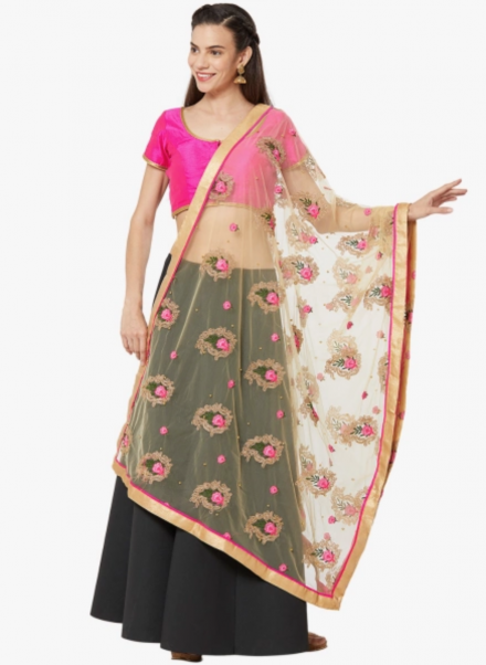 Gold and Pink Net Dupatta