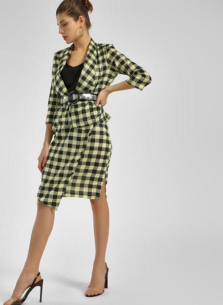 Asymmetrical Checkered Skirt