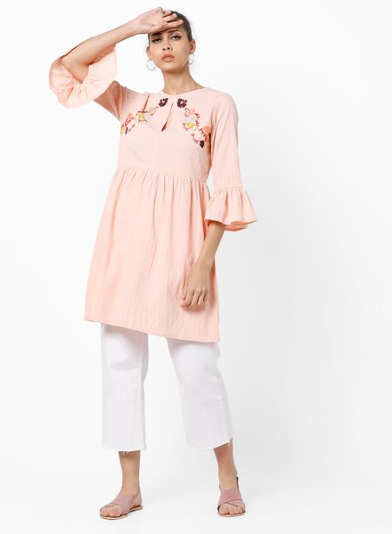 Placement Embroidered Peach kurti