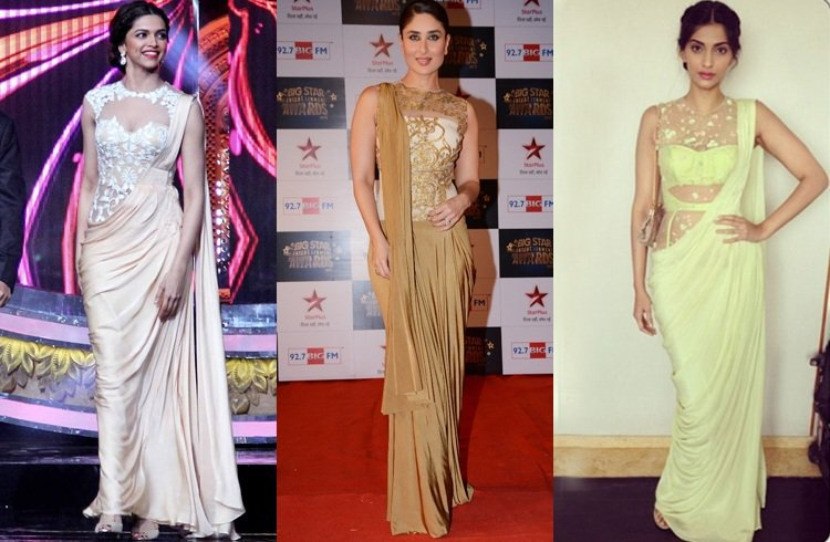Actresses in saree gown