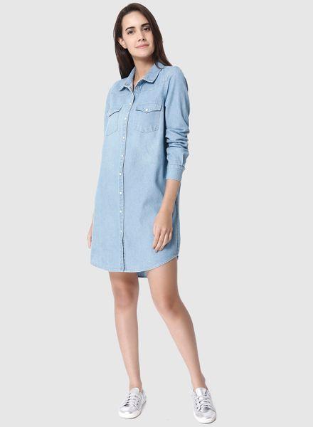 Asymmetric Hem Denim Dress