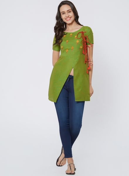 Green Embroidered Angrakha Kurti