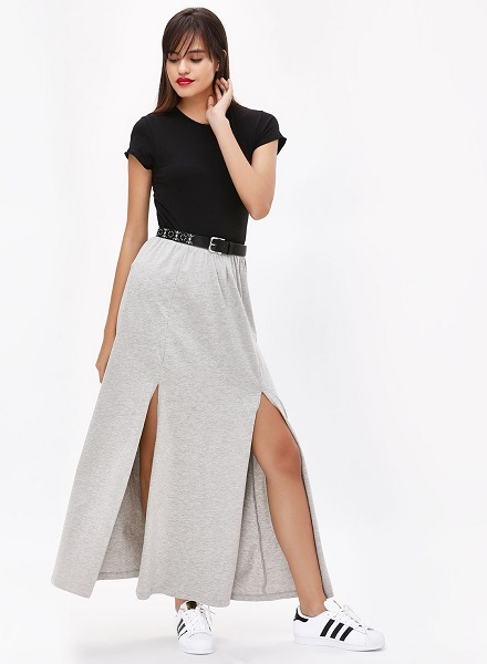 High-Slit Maxi Skirt