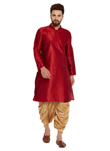 Maroon And Gold Dhoti Kurta Style