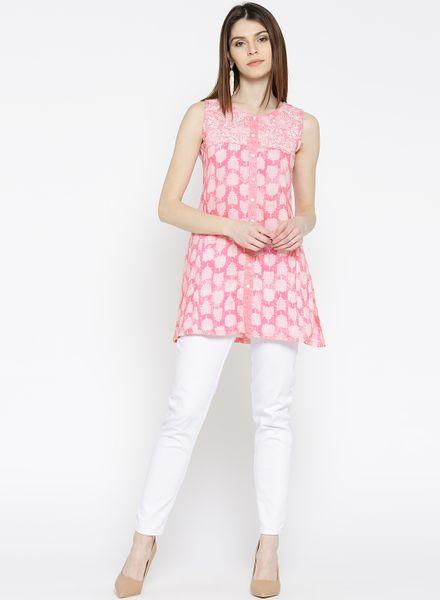 Pink A-line Sleeveless Kurti
