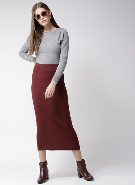 Solid Pullover With Long Skirt