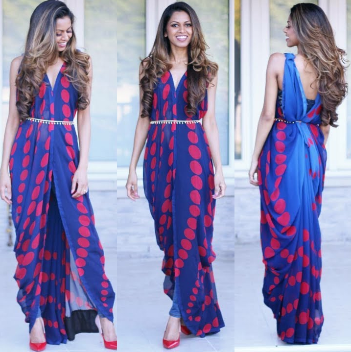 How to drape a saree as a gown