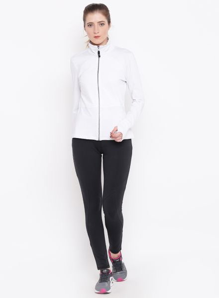 Solid White Zipper Jacket